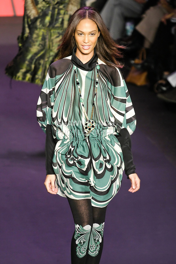 Joan Smalls walks runway in an outfit from the Anna Sui Fall 2011 collection, during Mercedes-Benz Fashion Week Fall 2011.