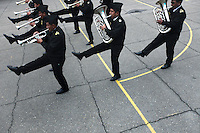 The Bolivian Navy band performs at the naval school in La Paz. Bolivia lost what is now northern Chile in a war over nitrates leaving Bolivia without access to the ocean.