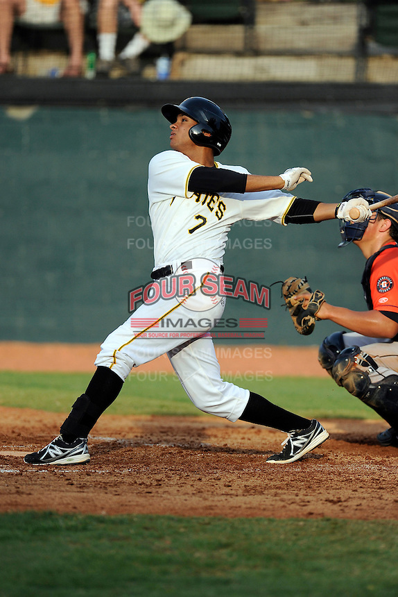Shortstop Trae Arbet (7) of the Bristol Pirates bats in a game against the Greeneville Astros on Saturday, July 26, 2014, at DeVault Memorial Stadium in Bristol, Virginia. Greeneville won, 2-1 in Game 1 of a doubleheader. (Tom Priddy/Four Seam Images)