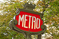 Paris - France - Metro Sign On Champs Eleysee