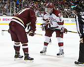 Pat Mullane (BC - 11), Jimmy Vesey (Harvard - 19) - The Boston College Eagles defeated the Harvard University Crimson 4-1 in the opening round of the 2013 Beanpot tournament on Monday, February 4, 2013, at TD Garden in Boston, Massachusetts.