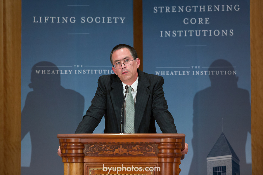 1211-32 219 Stephen H. Webb Wheatley<br /> <br /> 1211-32<br /> Stephen H. Webb delivers annual Truman G. Madsen Lecture in the Hinckley Center.<br /> <br /> Cecil O. and Sharon Samuelson<br /> Jack Wheatley<br /> John Wheatley<br /> Ann Madsen and daughter<br /> Richard O. Cowan and his wife<br /> <br /> November 15, 2012<br /> <br /> Photo by Bella Torgerson/BYU Photo<br /> <br /> &copy; BYU PHOTO 2012<br /> All Rights Reserved<br /> photo@byu.edu  (801)422-7322