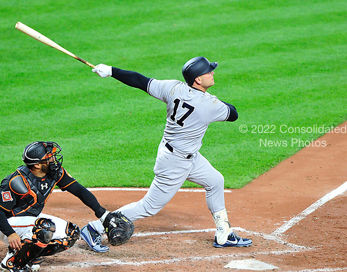 New York Yankees left fielder Matt Holliday (17) bats in the fifth inning against the Baltimore Orioles at Oriole Park at Camden Yards in Baltimore, MD on Friday, April 7, 2017.<br /> Credit: Ron Sachs / CNP<br /> (RESTRICTION: NO New York or New Jersey Newspapers or newspapers within a 75 mile radius of New York City)