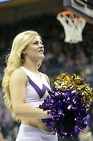 Dec 28, 2015:  Washington cheer member Hannah Alonzo entertained fans during a TV timeout.   Washington defeated UC Santa Barbara 83-78 at Alaska Airlines Arena in Seattle, WA.