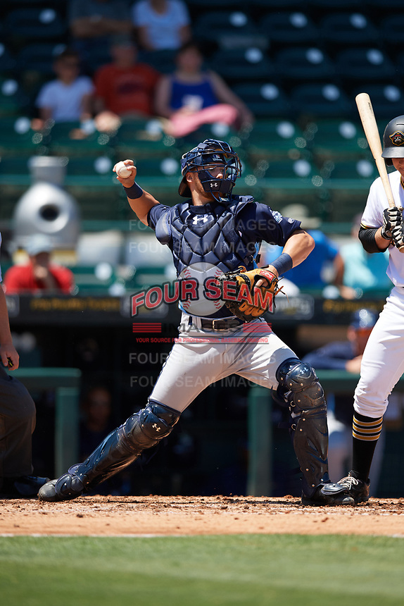 Charlotte Stone Crabs catcher Brett Sullivan (8) throws down to second base during a game against the Bradenton Marauders on April 9, 2017 at LECOM Park in Bradenton, Florida.  Bradenton defeated Charlotte 5-0.  (Mike Janes/Four Seam Images)