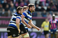 Elliott Stooke of Bath Rugby celebrates his second half try. European Rugby Challenge Cup Semi Final, between Stade Francais and Bath Rugby on April 23, 2017 at the Stade Jean-Bouin in Paris, France. Photo by: Patrick Khachfe / Onside Images