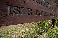 Signage at Isle Royale National Park in Michigan USA.