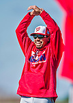 25 February 2016: Washington Nationals infielder Anthony Rendon stretches during the first full squad Spring Training workout at Space Coast Stadium in Viera, Florida. Mandatory Credit: Ed Wolfstein Photo *** RAW (NEF) Image File Available ***