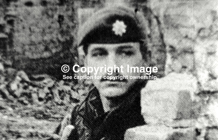Guardsman Alan Daughtery, from Durham, married with 2 children, shot dead by Provisional IRA sniper whilst travelling in a military vehicle in Beechmount Avenue, Falls Road, Belfast, N Ireland, 31st December 1973. 197312310783AD.<br /> <br /> Copyright Image from Victor Patterson, 54 Dorchester Park, <br /> Belfast, UK, BT9 6RJ<br /> <br /> t1: +44 28 9066 1296 (from Rep of Ireland 048 9066 1296)<br /> t2: +44 28 9002 2446 (from Rep of Ireland 048 9002 2446)<br /> m: +44 7802 353836<br /> <br /> e1: victorpatterson@me.com<br /> e2: victorpatterson@gmail.com<br /> <br /> www.victorpatterson.com<br /> <br /> Please see my Terms and Conditions of Use at www.victorpatterson.com. It is IMPORTANT that you familiarise yourself with them.<br /> <br /> Images used on the Internet must be visibly watermarked i.e. &copy; Victor Patterson within the body of the image and copyright metadata must not be deleted. Images used on the Internet have a size restriction of 4kbs and will be chargeable at current NUJ rates unless agreed otherwise.<br /> <br /> This image is only available for the use of the download recipient i.e. television station, newspaper, magazine, book publisher, etc, and must not be passed on to any third party. It is also downloaded on condition that each and every usage is notified within 7 days to victorpatterson@me.com<br /> <br /> The right of Victor Patterson to be identified as the author is asserted in accordance with The Copyright Designs And Patents Act (1988).