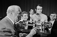 11 May 1970, Manhattan, New York City, New York State, USA. Marcel Cerdan Jr. weighs in for his fight against Donato Paduano, who is standing to his right, at a press conference at Madison Square Garden. Image by © JP Laffont