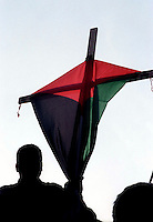 Roma  .Manifestazione per la Palestina.La croce e la bandiera della Palestina.Rome .Demonstration for Palestine.The cross and the flag of Palestine