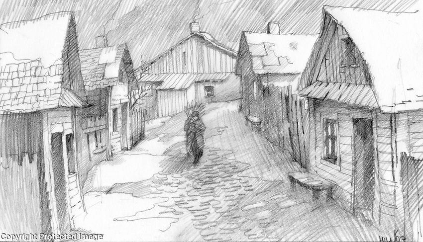 The prolog to the film took place in a Polish Shtetl in the early 20th century.  This is an early concept sketch.