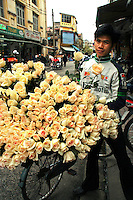 Rose Vendor -One of the most enduring images of Hanoi is that of its ubiquitous vendors peddling bushels of fresh roses and other items from the back of a bicycle or baskets balanced on bamboo shoulder poles, fresh fruit or flowers are very much part of Hanoi's scene.