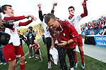 09 December 2012: Indiana head coach Todd Yeagley has water dumped on him by players after the game. The Georgetown University Hoyas played the Indiana University Hoosiers at Regions Park Stadium in Hoover, Alabama in the 2012 NCAA Division I Men's Soccer College Cup Final. Indiana won the game 1-0.