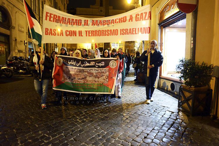 Roma 17 Novembre 2012.Manifestazione contro il massacro a Gaza e i bombardamenti da parte dell'esercito israeliano sulla popolazione palestinese.Corteo verso il Colosseo