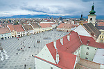 View from the top of the Council Tower (Turnul Sfatului), Sibiu (European Capital of Culture 2007), Transylvania, Romania