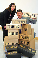 23/08/'10 Apprentice Star and entrepreneur Bill Cullen and Nicola Byrne, Founder of 11890 pictured  at the Europa, Academy, Swords this morning for the launch of Enterprise Week in Fingal which takes place next month. The event is a series of free enterprise events over 5 days in September, where Irish serial enrtapreneurs, including Bill Cullen, Sean Gallagher and Nicola Byrne will host free seminars, workshops and clinics throughout the region in a bid to help businesses and boost  job creation.  The full schedule of events is available from www.fingalenterpriseweek.ie.  Pictutre Colin Keegan, Collins, Dublin.
