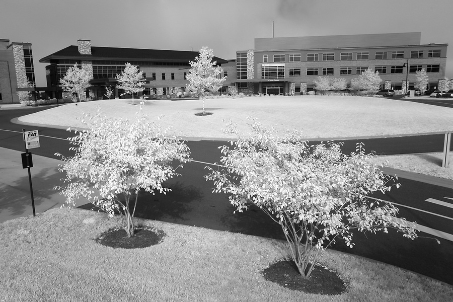 Martha Jefferson Hospital photographed with infrared in Charlottesville, Va. Photo/Andrew Shurtleff