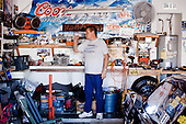 PHOENIX, ARIZONA, USA, 10/2016:<br /> Dan Olszewski w swoim garazu. Dan jest kierowca rajdowym i  od dziesiecioleci bierze udzial w wyscigach prywatnych samochow na torze &quot;Tucson Dragway&quot;<br /> Fot: Piotr Malecki / Napo Images****<br /> PHOENIX, ARIZONA, USA, OCTOBER 2016:<br /> Dan Olszewski is standing at the garrage of his home in PHOENIX, AZ. He is a hero of vintage car racing and ofter races at at the Tucson Dragway. Cars from 50's, 60's, 70's and 80's owned mainly by well off pensioners, beneficiaries of the previously generous American pension system - older white Americans. They compete to make a one mile straight strip road as fast as possible. The powerful custom engines have 500, 600, or even 700 horsepower.<br /> <br /> (Photo by Piotr Malecki / Napo Images)
