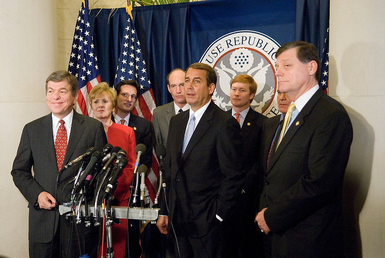 From left, Rep. Roy Blunt, R-Mo., Rep. Kay Granger, R-Texas, Rep. Eric Cantor, R-Va., Rep. Thaddeus McCotter, R-Mich., Rep. John Boehner, R-Ohio, Rep. Adam Putnam, R-Fla., Rep. John Carter, R-Texas, and Rep. Tom Cole, R-Okla., hold a news conference to announce the results of the GOP House leadership elections in the Longworth Building in Washington on Friday, Nov. 17, 2006.