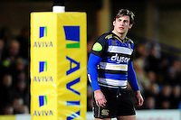 Max Clark of Bath Rugby looks on. Aviva Premiership match, between Bath Rugby and Newcastle Falcons on March 18, 2016 at the Recreation Ground in Bath, England. Photo by: Patrick Khachfe / Onside Images