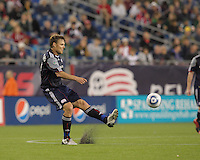 Second half substitute New England Revolution forward Edgaras Jankauskas (10) at midfield. The New England Revolution defeated the New York Red Bulls, 3-2, at Gillette Stadium on May 29, 2010.
