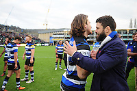 Max Clark and Guy Mercer of Bath Rugby. Aviva Premiership match, between Bath Rugby and Saracens on December 3, 2016 at the Recreation Ground in Bath, England. Photo by: Patrick Khachfe / Onside Images