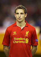 LIVERPOOL, ENGLAND - Thursday, October 4, 2012: Liverpool's Joe Allen lines-up before the UEFA Europa League Group A match against Udinese Calcio at Anfield. (Pic by David Rawcliffe/Propaganda)