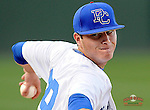 Starting pitcher Brian Kehner (39) of the Presbyterian Blue Hose delivers in a game against the University of Pittsburgh Panthers on Tuesday, March 11, 2014, at Fluor Field at the West End in Greenville, South Carolina. Pitt won, 12-3 and Kehner took the loss. (Tom Priddy/Four Seam Images)