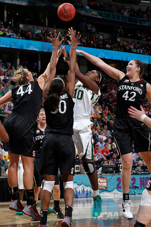 01 APRIL 2012:  Destiny Williams (10) of Baylor University shoots over a host of Stanford University defenders during the Division I Women's Final Four semifinals at the Pepsi Center in Denver, CO.  Baylor defeated Stanford 59-47 to advance to the championship final.  Jamie Schwaberow/NCAA Photos