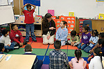 Oakland CA Circle time at inner city 1st-2nd grade class