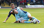 Dundee v St Johnstone....29.09.12      SPL.Steven MacLean goes down under a challenge by Iain Davidson and suffers either a broken arm or a dislocation.Picture by Graeme Hart..Copyright Perthshire Picture Agency.Tel: 01738 623350  Mobile: 07990 594431
