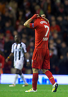 LIVERPOOL, ENGLAND - Thursday, October 4, 2012: Liverpool's Luis Alberto Suarez Diaz walks off dejected as his side lose 3-2 to Udinese Calcio during the UEFA Europa League Group A match at Anfield. (Pic by David Rawcliffe/Propaganda)