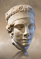 Athletes head, Diadumene type - A Roman sculpture circa 150 AD found at the abbey of Vauluisant in Villeneuve-L'Archeveque, France.  Inv No. MND 1441 (Usual No Ma 3483), Louvre Museum, Paris.