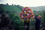 Castleton Garland Day Castleton Derbyshire UK May 29th. Oak Apple Day Garland of flowers placed on the church tower.