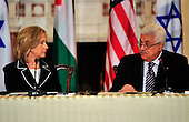 """United States Secretary of State Hillary Rodham Clinton listens as President Mahmoud Abbas of the Palestinian Authority makes remarks at the """"Relaunch of Direct Negotiations Between the Israelis and Palestinians"""" in the Benjamin Franklin Room of the U.S. Department of State on Thursday, September 2, 2010.  .Credit: Ron Sachs / CNP.(RESTRICTION: NO New York or New Jersey Newspapers or newspapers within a 75 mile radius of New York City)"""