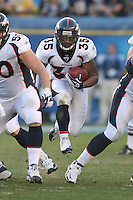 11/27/11 San Diego, CA: Denver Broncos running back Lance Ball #35 during an NFL game played between the Denver Broncos and the San Diego Chargers at Qualcomm Stadium. The Broncos defeated the Chargers 16-13 in OT