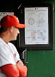 18 May 2012: The lineup card is up in the Washington Nationals dugout prior to a game against the Baltimore Orioles at Nationals Park in Washington, DC. The Orioles defeated the Nationals 2-1 in the first game of their 3-game series. Mandatory Credit: Ed Wolfstein Photo