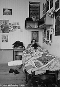 Kids relaxing in bed, Summerhill school, Leiston, Suffolk, UK. 1968.