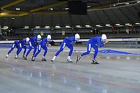 SCHAATSEN: HEERENVEEN: 16-06-2014, IJsstadion Thialf, Zomerijs training, Margot Boer, Thijsje Oenema, Karolina Erbanova (CZE), Janine Smit, ©foto Martin de Jong