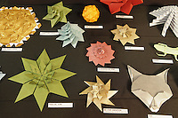 New York, NY, USA - June 22, 2012: A display of Origami designed and folded by Evan Zodl, from New Jersey, at the OrigamiUSA 2012 convention exhibition held at Fashion Institute of Technology in New York City.