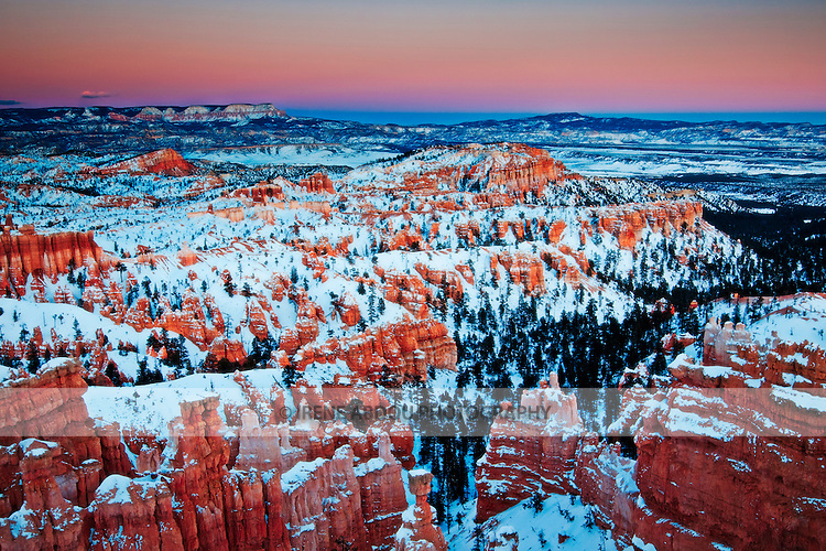 As viewed from Sunset Point, the northern section of Bryce Canyon National Park boasts the largest concentration of hoodoos in the world.  Thin, protruding spires of rock, hoodoos have been formed over thousands of years by water, wind, ice, and gravity.