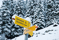 Sign showing directions in Swiss Alps