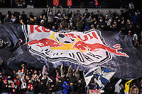 New York Red Bulls fans celebrate a goal. The New York Red Bulls defeated the Seattle Sounders 1-0 during a Major League Soccer (MLS) match at Red Bull Arena in Harrison, NJ, on March 19, 2011.