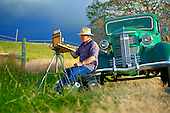 Upcountry Maui Plein Air artist Michael Clements painting on location in Kula, Maui