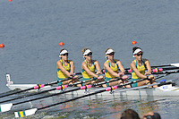 Brest, Belarus. AUS BLW4X,  as the  the start.  2010. FISA U23 Championships. Thursday,  22/07/2010.  [Mandatory Credit Peter Spurrier/ Intersport Images]