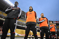 D.C. United goalkeeper Bill Hamid (28) Santos Maicon (29) and Danny Cruz (2) at the signing of the National Anthem. D.C. United tied The Montreal Impact 1-1, at RFK Stadium, Wednesday April 18 , 2012.