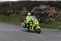 PRO team cyclists near the top of the challenging iconic and notorious 6km 10% stretch of road namely The Tumble during the Wales Velothon 2016 140km route cycling race.  Police control motorcyclists on the course.<br /> <br /> Jeff Thomas Photography -  www.jaypics.photoshelter.com - <br /> e-mail swansea1001@hotmail.co.uk -<br /> Mob: 07837 386244 -