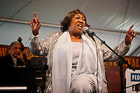 Ruth Brisbane of the Harlem Blues and Jazz Band performs on the Economy Hall Tent stage during the 2009 New Orleans Jazz & Heritage Festival at the Fairgrounds Race Course in New orleans, Louisiana, 26 April 2009.