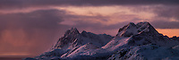 Panoramic view over winter mountain landscape, Moskenesøy, Lofoten Islands, Norway